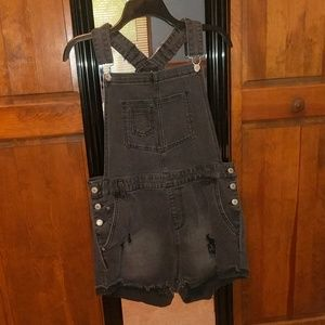 Love Tree Denim Black Overall Shorts Size L